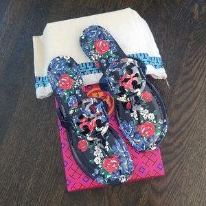 NIB Tory Burch Navy Rose Miller Sandals